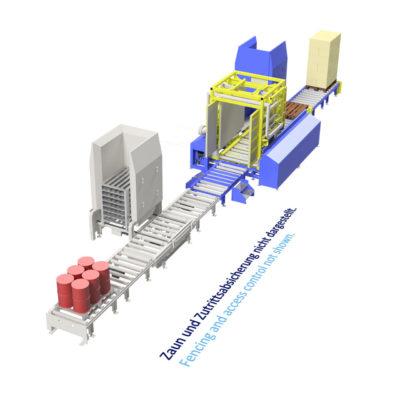 Baust Komplettsysteme Palettieranlage Palettiersystem Materialfluss 108026 A8