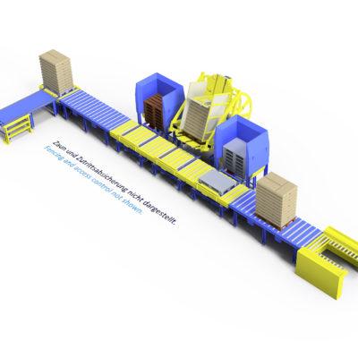 Baust Komplettsysteme Palettieranlage Palettiersystem Materialfluss Pallet Changer 90358a7