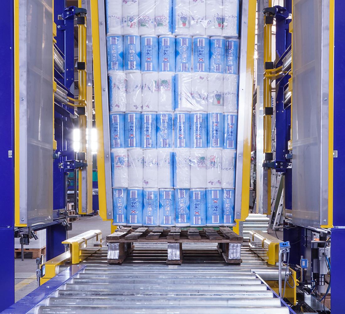 Klemmverfahren Palettenwechsler Paletten Wechseln Materialflusssysteme Waren Logistik Baust
