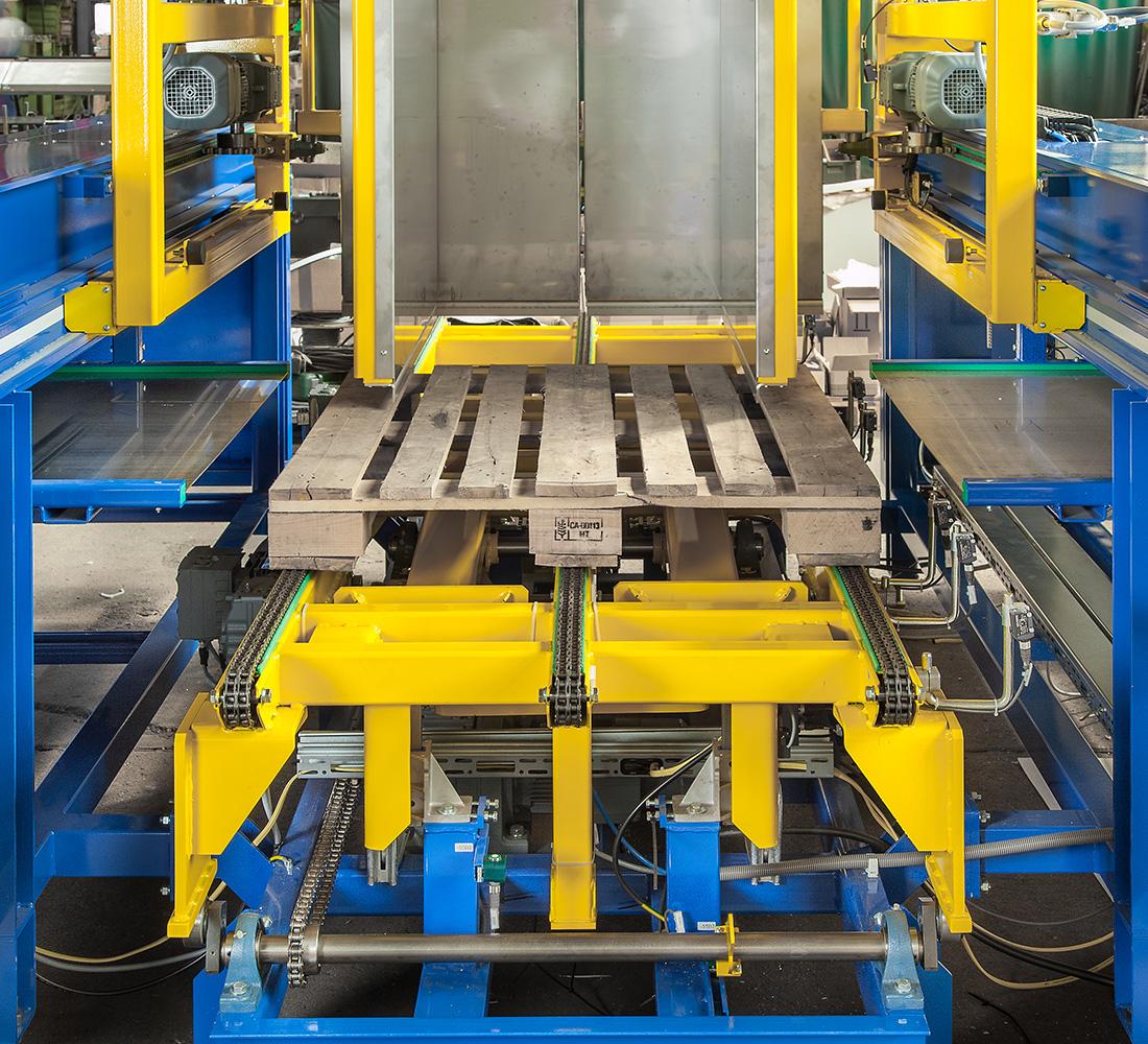 Ueberschiebeverfahren Palettenwechsler Paletten Wechseln Materialflusssysteme Waren Logistik Baust